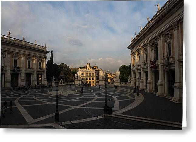 Michelangelo Greeting Cards - Michelangelos Wonderful Square - Piazza del Campidoglio Rome Greeting Card by Georgia Mizuleva
