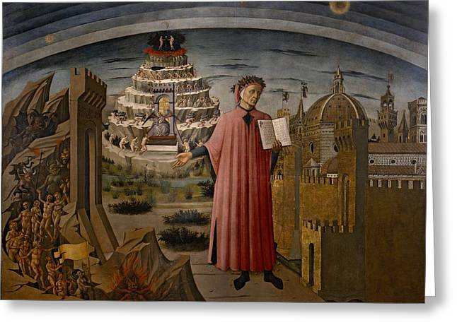 Divine Comedy Greeting Cards - Michelinos fresco Dante Holding The Divine Comedy Greeting Card by Movie Poster Prints