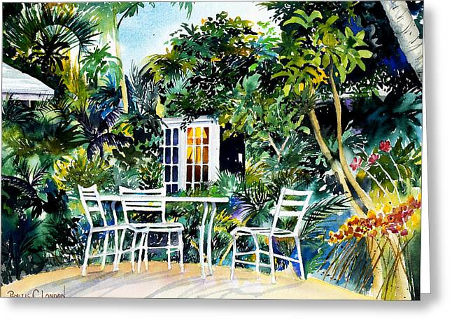 Recently Sold -  - Michelle Greeting Cards - Michelle and Scotts Key West Garden Greeting Card by Phyllis London
