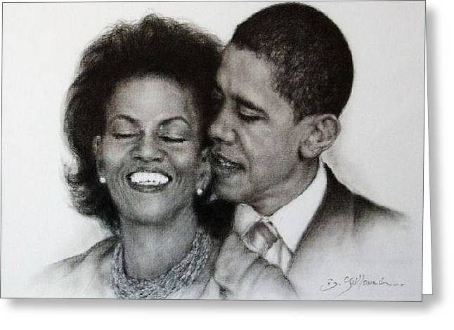 Michelle Obama Nude Mixed Media Greeting Cards - Michelle et Barack OBAMA Greeting Card by Guillaume Bruno