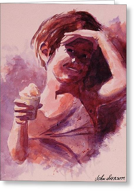 Kid Eating Ice Cream Greeting Cards - Michelle Greeting Card by John  Svenson