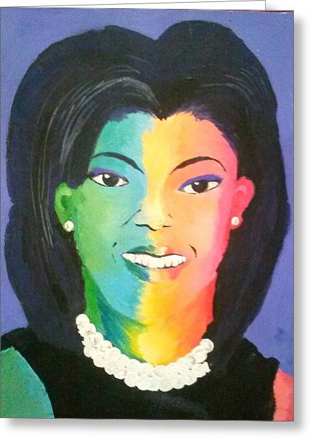 Best Sellers -  - Michelle Obama Paintings Greeting Cards - Michelle Obama color effect Greeting Card by Kendya Battle
