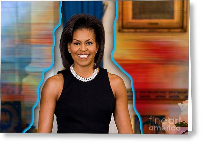 Michelle Obama Mixed Media Greeting Cards - Michelle Obama Greeting Card by Marvin Blaine