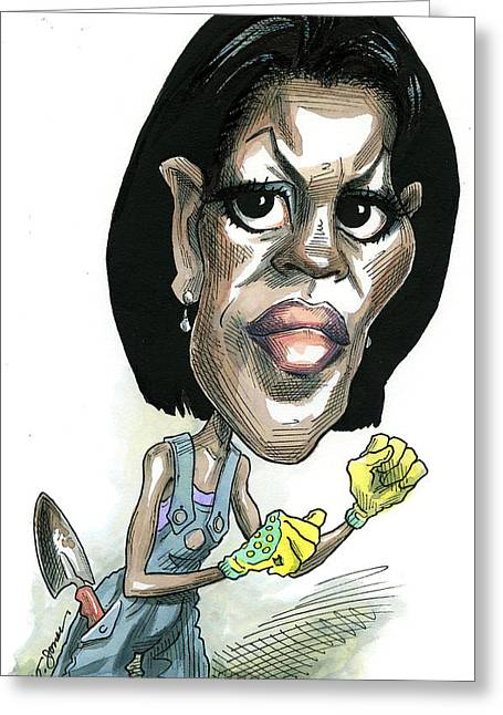 Michelle Obama Drawings Greeting Cards - Michelle Obama Greeting Card by Taylor Jones