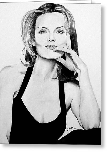 Michelle Drawings Greeting Cards - Michelle Pfeiffer Greeting Card by Devin Millington