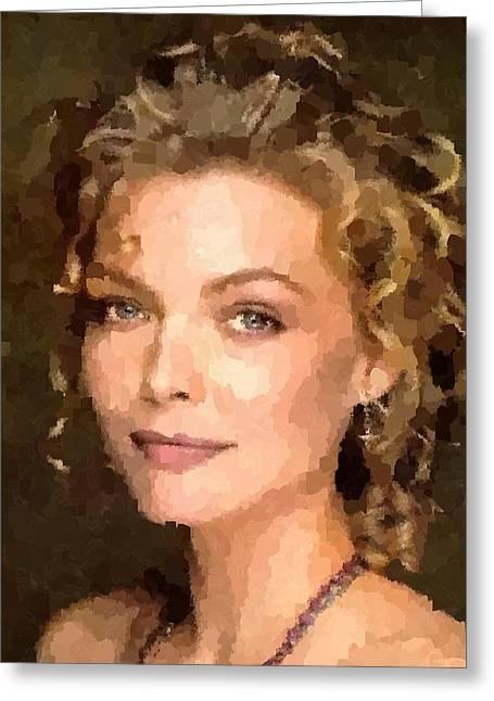 Michelle Pfeiffer Greeting Cards - Michelle Pfeiffer Portrait Greeting Card by Samuel Majcen