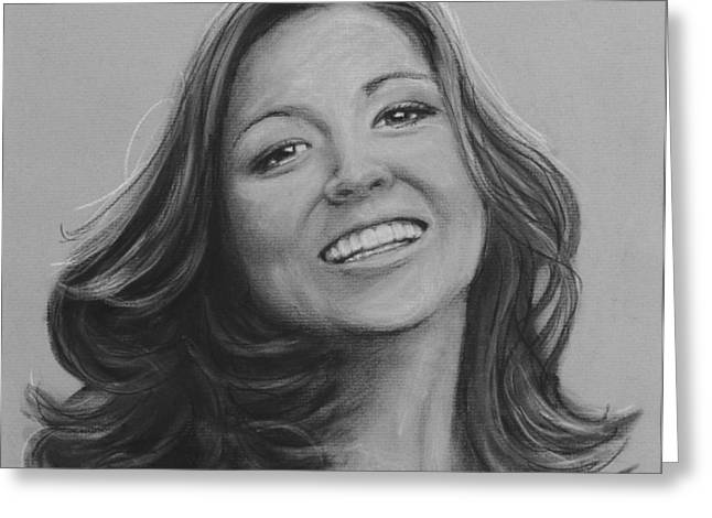 Commissions Pastels Greeting Cards - Michelle Greeting Card by Richelle Siska