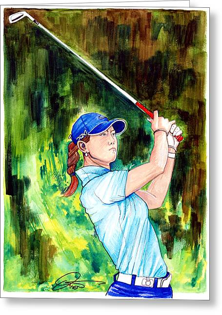 Michelle Wie Greeting Card by Dave Olsen