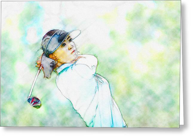 Northern Africa Digital Art Greeting Cards - Michelle Wie hits her tee shot on the sixth hole Greeting Card by Don Kuing
