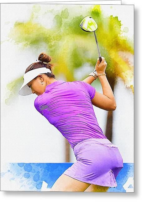 Recently Sold -  - Michelle Greeting Cards - Michelle Wie hits her tee shot Greeting Card by Don Kuing