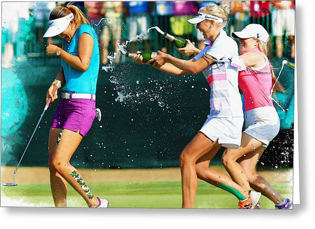Michelle Wie - Winnning The 69th U.s. Women's Open 2014 Greeting Card by Don Kuing