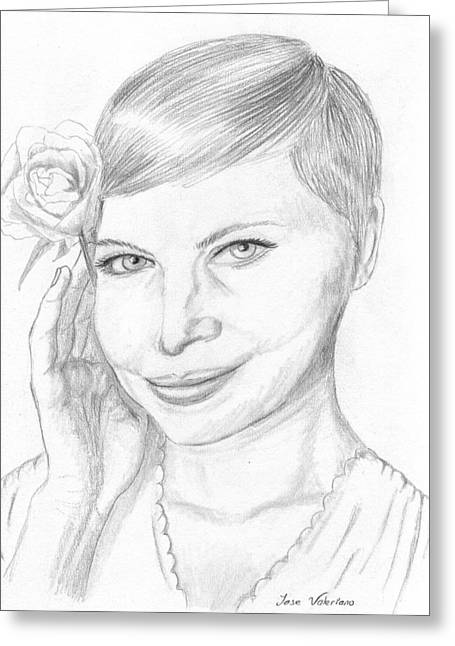 Michelle Drawings Greeting Cards - Michelle Williams Greeting Card by Jose Valeriano