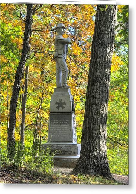 Michigan At Gettysburg - 24th Michigan Volunteer Infantry-2a Iron Brigade Near Willoughby Run Greeting Card by Michael Mazaika
