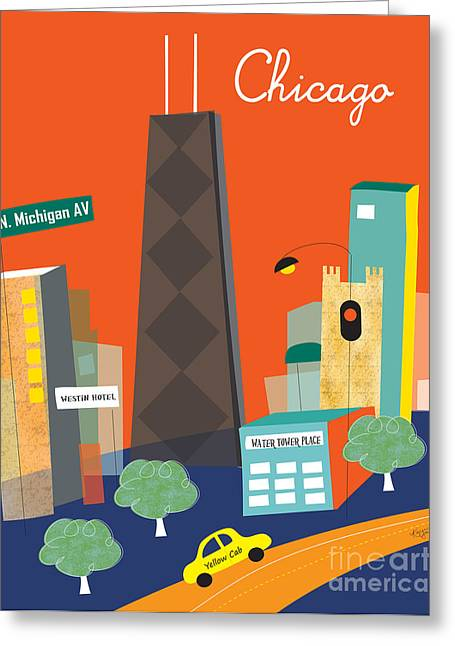 City Skylines Greeting Cards Greeting Cards - Michigan Ave. Greeting Card by Karen Young
