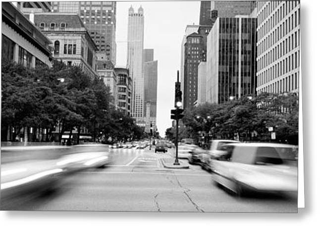 Rush Hour Greeting Cards - Michigan Avenue, Chicago, Illinois, Usa Greeting Card by Panoramic Images