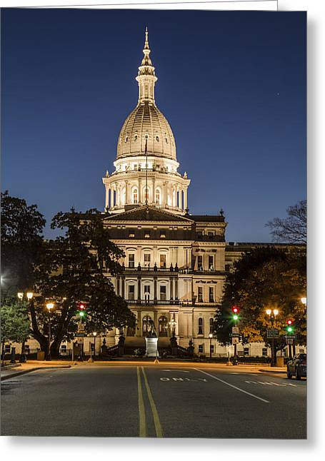 Michigan Ave Greeting Cards - Michigan Capital and Michigan Ave Greeting Card by John McGraw