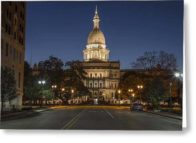Michigan Ave Greeting Cards - Michigan Capital at Blue Hour Greeting Card by John McGraw