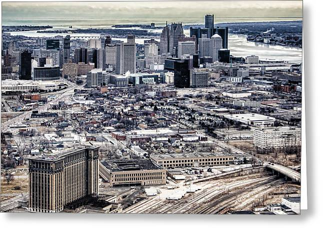 Renaissance Center Greeting Cards - Michigan Central Station and Detroit Greeting Card by Cindy Lindow