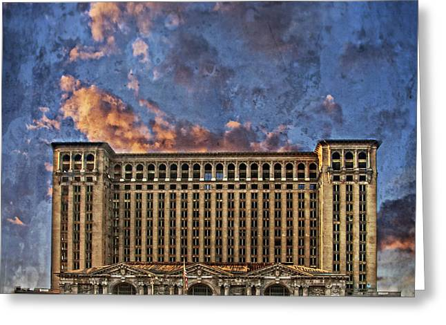 Michigan Pyrography Greeting Cards - Michigan Central Station Greeting Card by Ilze Lucero
