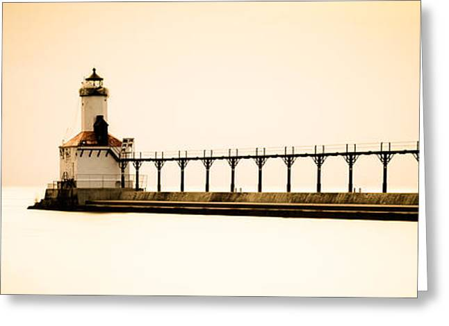 Sunset Prints Greeting Cards - Michigan City Lighthouse at Sunset Panorama Picture Greeting Card by Paul Velgos