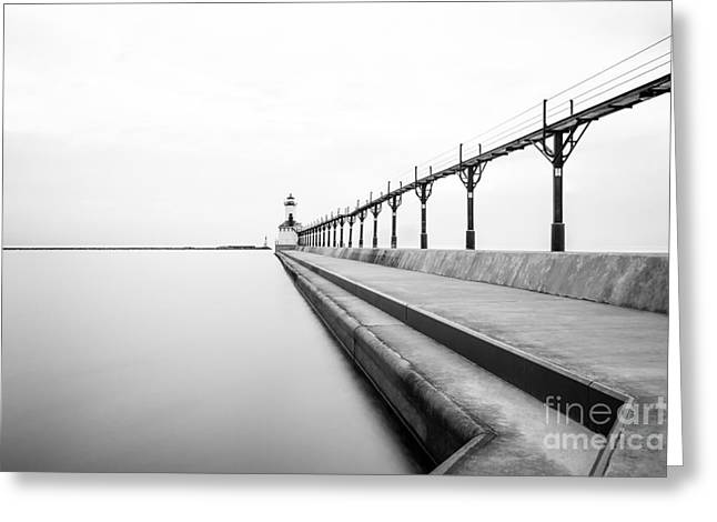 Black And White Photos Greeting Cards - Michigan City Lighthouse Black and White Photo Greeting Card by Paul Velgos