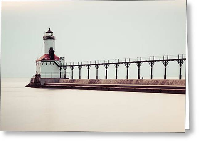Sunset Prints Greeting Cards - Michigan City Lighthouse Panoramic Picture Greeting Card by Paul Velgos