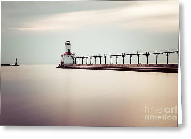 Catwalk Greeting Cards - Michigan City Lighthouse Picture Greeting Card by Paul Velgos
