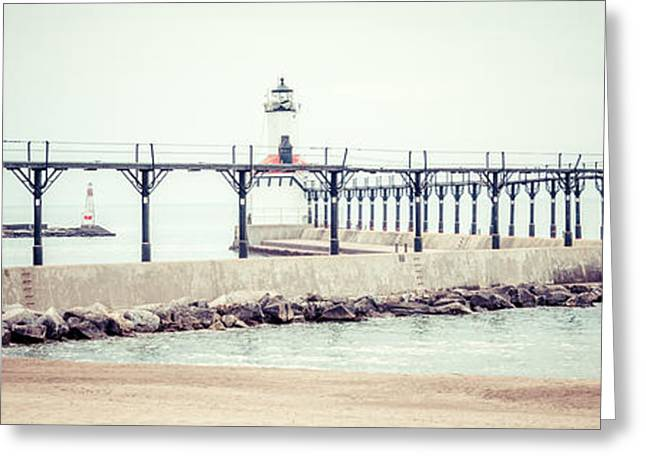 Lighthouse Prints Greeting Cards - Michigan City Lighthouse Retro Panorama Photo Greeting Card by Paul Velgos
