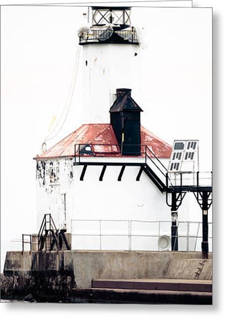 Lighthouse Prints Greeting Cards - Michigan City Lighthouse Vertical Panorama Greeting Card by Paul Velgos