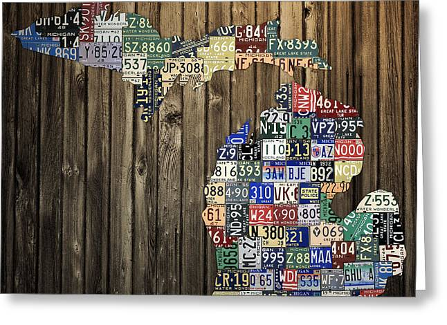Vintage Map Mixed Media Greeting Cards - Michigan Counties State License Plate Map Greeting Card by Design Turnpike