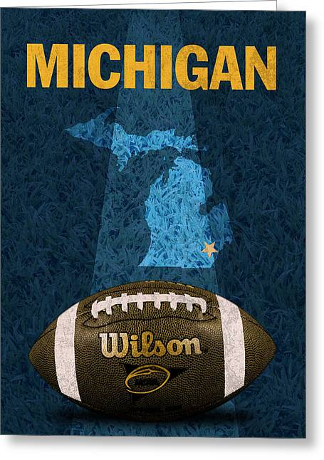 Wolverine Greeting Cards - Michigan Football Poster Greeting Card by Design Turnpike