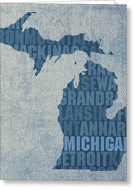 Michigan Art Greeting Cards - Michigan Great Lake State Word Art on Canvas Greeting Card by Design Turnpike