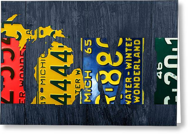 Michigan Art Greeting Cards - Michigan Home Recycled Vintage License Plate Art State Shape Lettering Phrase Greeting Card by Design Turnpike