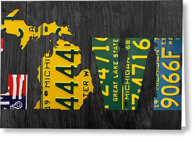 Recycle Greeting Cards - Michigan Love Recycled Vintage License Plate Art State Shape Lettering Phrase Greeting Card by Design Turnpike