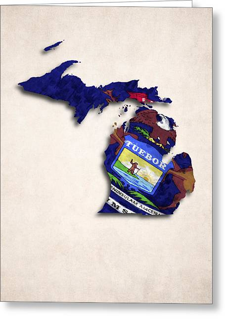 Geographic Digital Art Greeting Cards - Michigan Map Art with Flag Design Greeting Card by World Art Prints And Designs