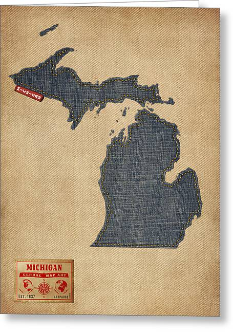 State Map Greeting Cards - Michigan Map Denim Jeans Style Greeting Card by Michael Tompsett