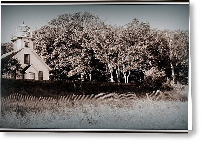 Faa Featured Greeting Cards - Michigan s Mission Point Lighthouse Greeting Card by Toni Abdnour