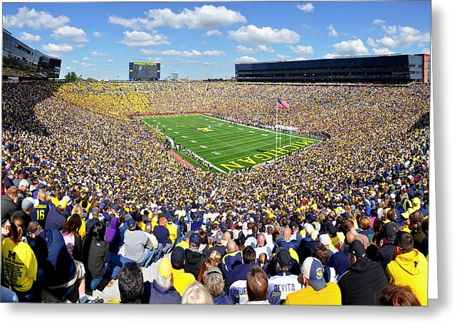 Michigan Stadium - Wolverines Greeting Card by Georgia Fowler