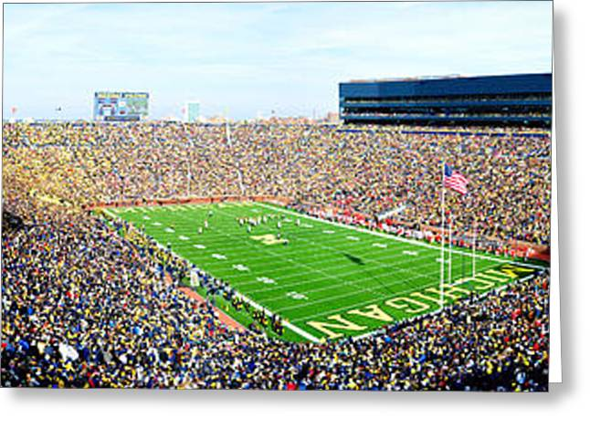 The Houses Greeting Cards - Michigan Stadium Greeting Card by Nomad Art And  Design