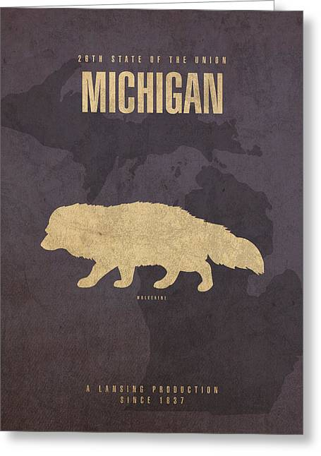 Michigan State Greeting Cards - Michigan State Facts Minimalist Movie Poster Art  Greeting Card by Design Turnpike