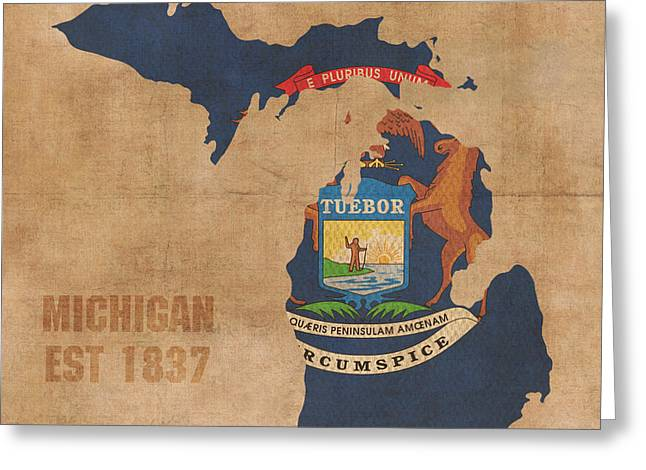 Michigan State Greeting Cards - Michigan State Flag Map Outline With Founding Date on Worn Parchment Background Greeting Card by Design Turnpike