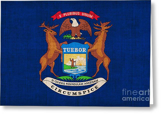 Best Sellers Greeting Cards - Michigan state flag Greeting Card by Pixel Chimp