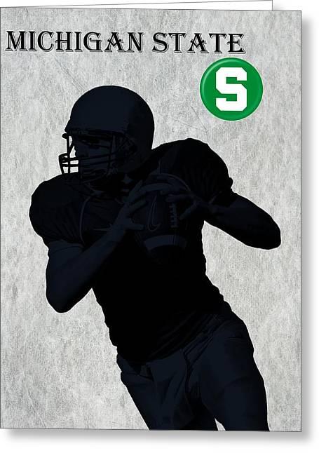 Indiana Art Greeting Cards - Michigan State Football Greeting Card by David Dehner