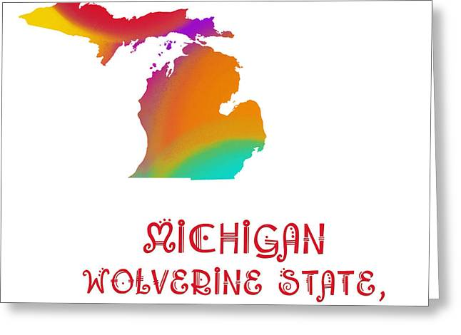 State Phrase Greeting Cards - Michigan State Map Collection 2 Greeting Card by Andee Design