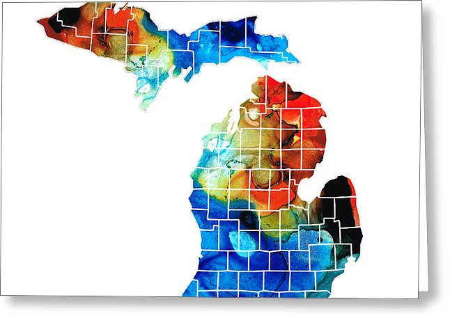 Chicago Mixed Media Greeting Cards - Michigan State Map - Counties by Sharon Cummings Greeting Card by Sharon Cummings