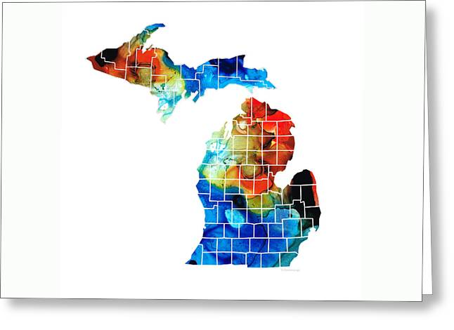 Michigan State Map - Counties By Sharon Cummings Greeting Card by Sharon Cummings