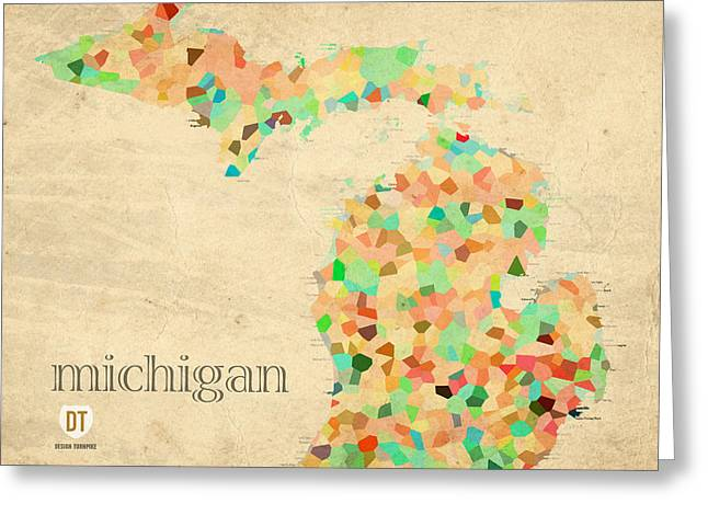 Rapids Greeting Cards - Michigan State Map Crystalized Counties on Worn Canvas by Design Turnpike Greeting Card by Design Turnpike