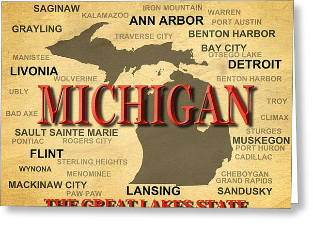 Mackinaw City Greeting Cards - Michigan State Pride Map Silhouette  Greeting Card by Keith Webber Jr