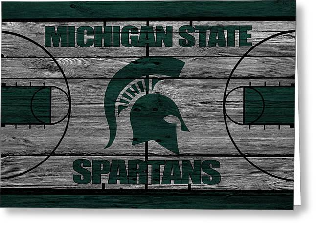 Basketballs Greeting Cards - Michigan State Spartans Greeting Card by Joe Hamilton