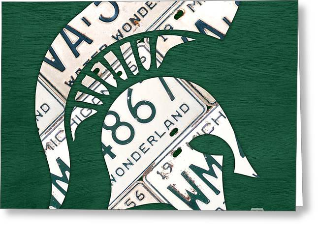 Logos Greeting Cards - Michigan State Spartans Sports Retro Logo License Plate Fan Art Greeting Card by Design Turnpike
